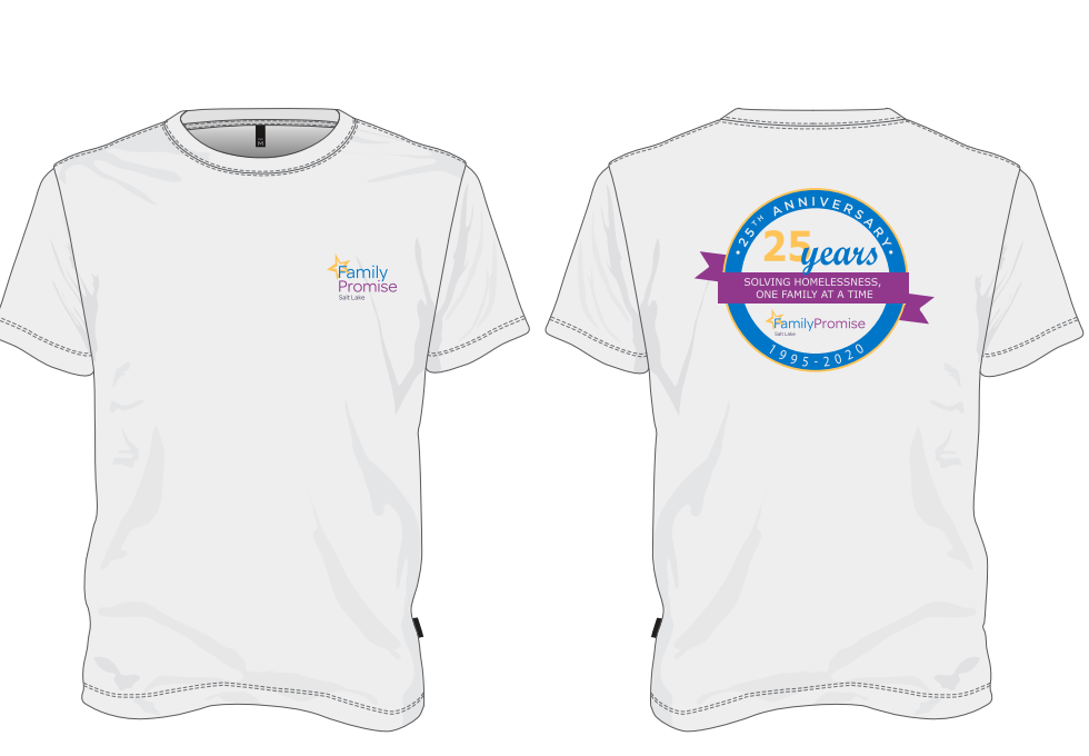 """Family Promise Salt Lake 1st Annual Celebrity Virtual Concert & Golf  Fundraiser               """"A Chip In Fore Homeless Families""""                                   September 25 & 28th               Online  and - Default Image of Family Promise 25 Year Anniversary T-Shirt"""