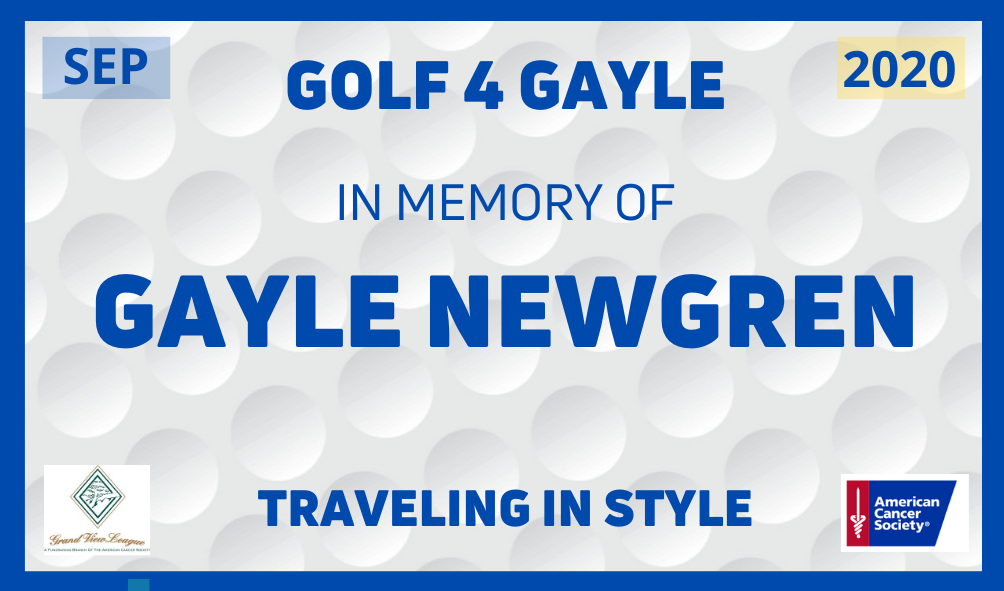 """Gayle Newgren Charity Golf Tournament 2021 - Default Image of Golf Cart """"In Memory of ____"""" License Plate"""