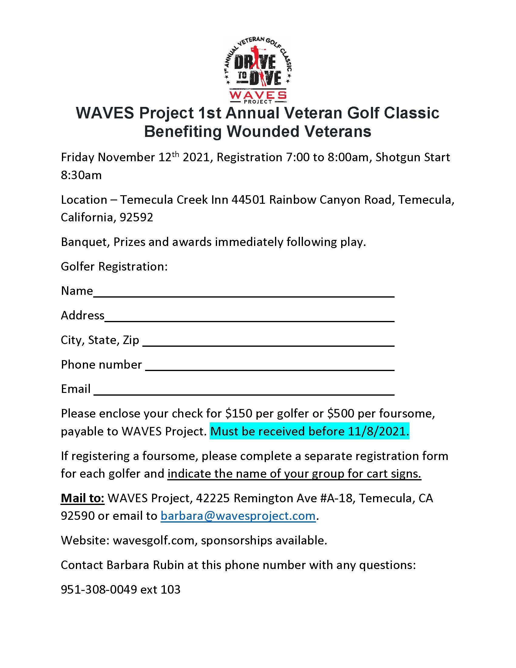 WAVES Project 1st Annual Veteran Golf Classic             Benefiting Wounded Veterans - Default Image of Mail-In Registration
