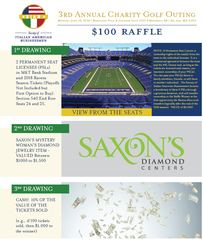 2018 Society of Italian American Businessmen - Default Image of Raffle Ticket Package