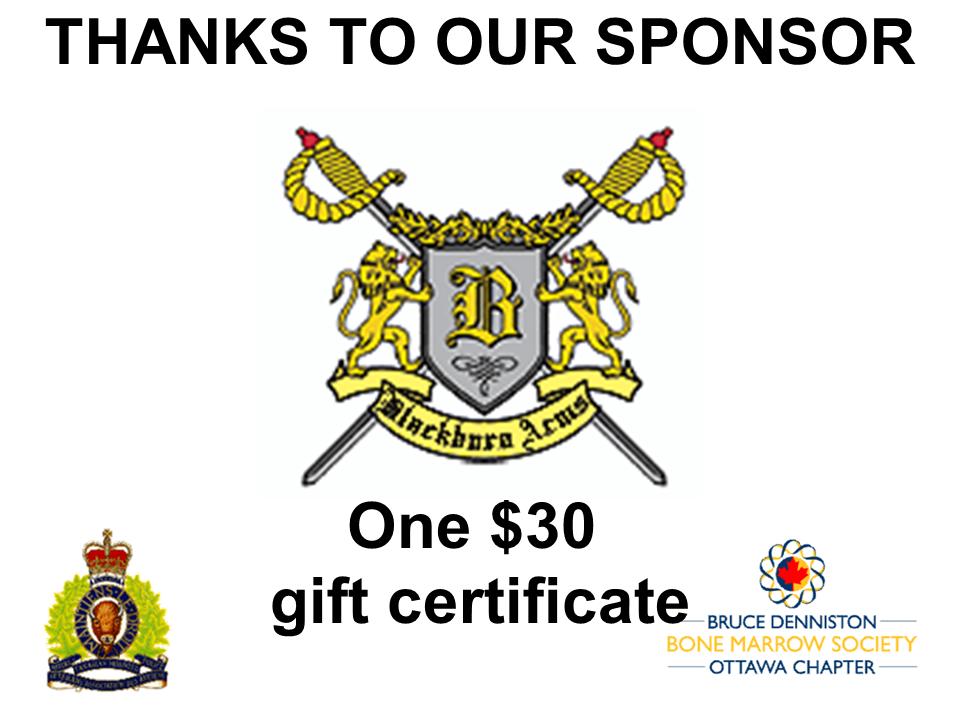 PRIZE DONATION ( $75 > $125) FOR CONTEST WINNER(S)  - BLACKBURN ARMS  - Logo