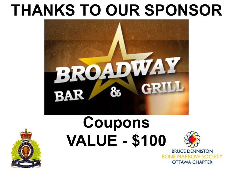 PRIZE DONATION ( $75 > $125) FOR CONTEST WINNER(S)  - BROADWAY BAR & GRILL - Logo