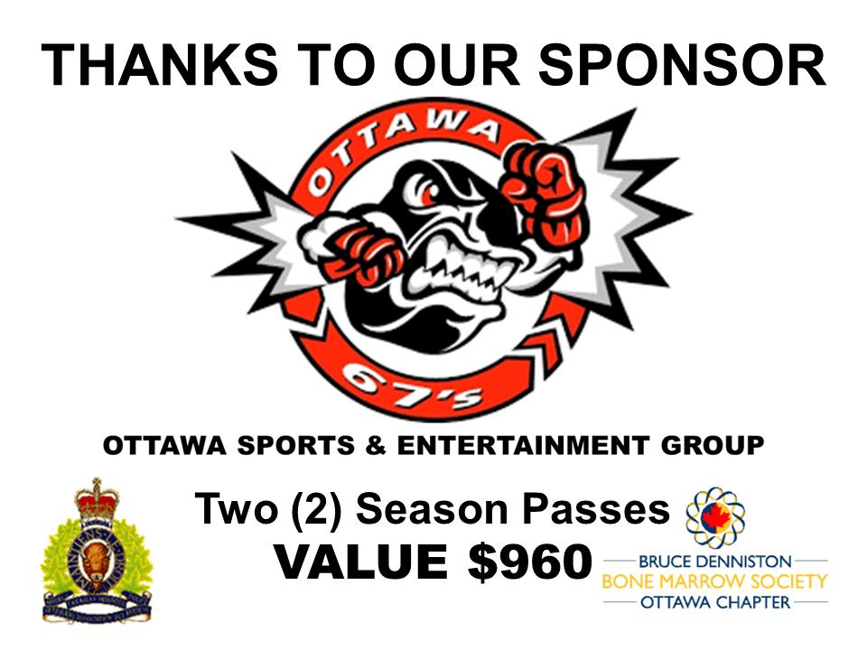 PRIZE TOKEN SPONSOR ($300 >$3,000.00) - OTTAWA 67'S - OTTAWA SPORTS ENTERTAINMENT GROUP - Logo