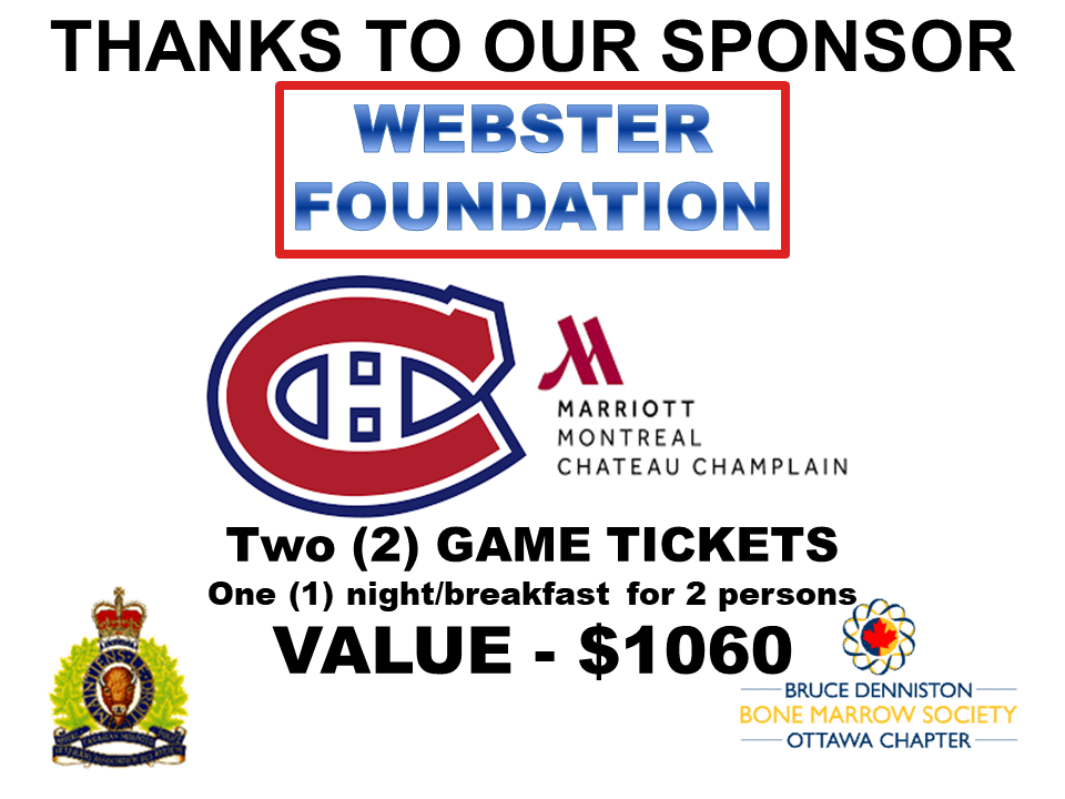 PRIZE TOKEN SPONSOR ($300 >$3,000.00) - WEBSTER FOUNDATION - MONTREAL CANADIENS & MARRIOT CHATEAU CHAMPLAIN  - Logo